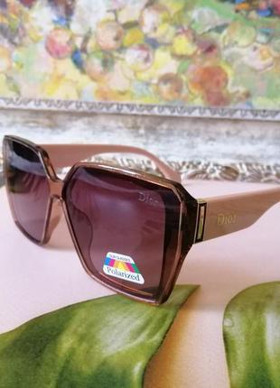 Модные женские розовые солнцезащитные очки с поляризацией 2021