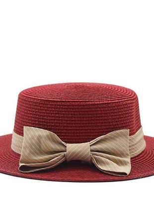 Детская шляпка соломенная красный с бантом