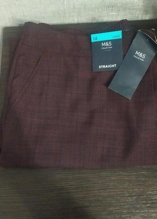 Стильные брюки цвет бордо марсала marks & spencer