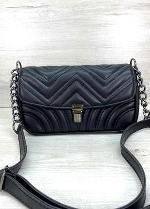 Женская стеганая сумочка клатч на ремешке aliri-645-04 черная