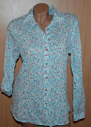 Блуза принтованая бренда  marks & spenser / 100% хлопок/  регулируемый рукав/