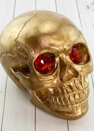 Копилка череп золотого цвета