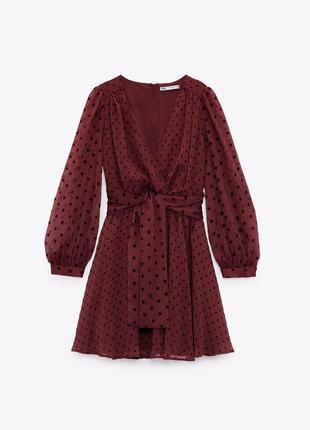 Шифоновое платье zara в горошек под пояс из новых коллекций