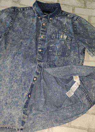 """Рубашка мужская джинсовая с коротким рукавом """"asos"""" , m, 100% коттон ."""