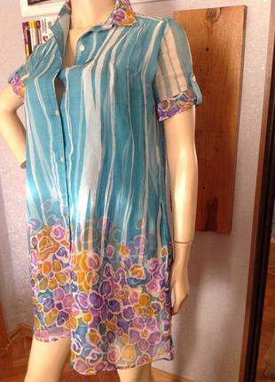Шелковое двойное платье - рубашка бренда mango, р. 46
