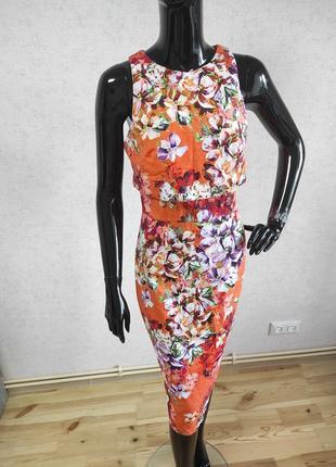 Платье миди в цветы котон