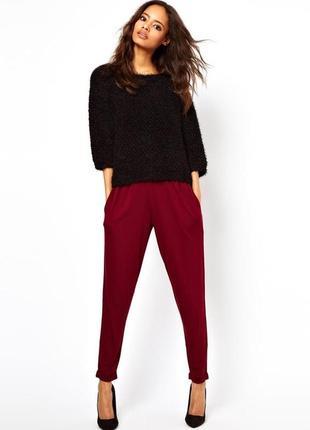 Бордовые брюки с высокой посадкой штаны завышенные с поясом свободные с защипами