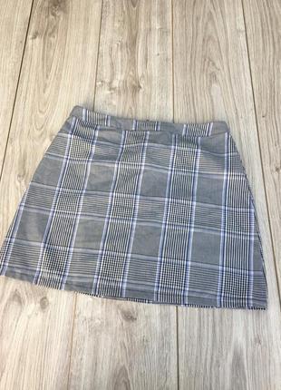 Стильная актуальная юбка h&m zara asos клетчатая в клетку мини миди тренд пальмовый принт тренд