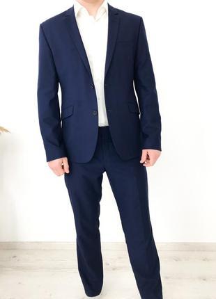 Мужской деловой стиль костюм классический пиджак брюки свадебный выпускной antonio rando парня мужчину синий размер м