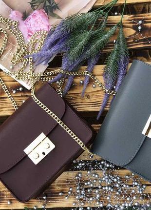 Женские кожаные сумки на цепочке италия клатч кроссбоди