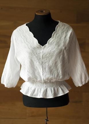 Белая коттоновая блузка топ из прошвы женская (англия), размер s, m