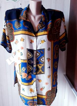 Новая с этикеткой ьлуза рубашка супер батал 100%вискоза италия