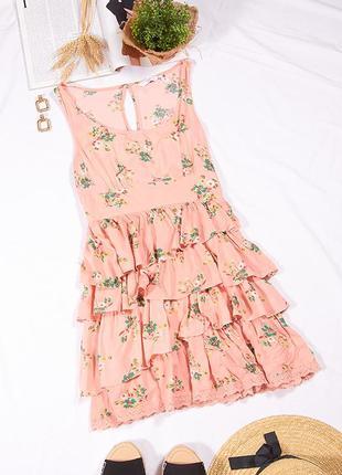 Летний сарафан персиковый, летнее платье короткое, платье с цветочным принтом, сукня, плаття
