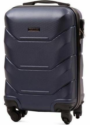 Чемодан пластиковый дорожная сумка на 4 колёсах маленький 147 s wings ( синий / blue )