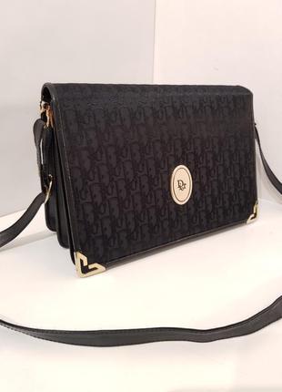 Изумительная винтажная сумка dior monogram  кожа + текстиль лого