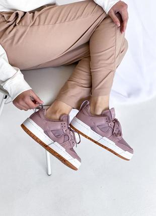 ❤ женские сиреневые текстильные кроссовки nike dunk low disrupt barely rose❤
