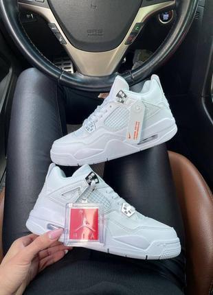 Женские кожаные кроссовки nike air jordan 4 white белого цвета