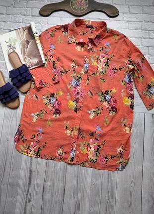 Легкая блузка,рубашка в цветочный принт