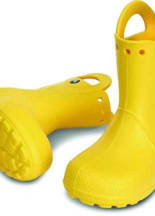Резиновые сапоги crocs детские kids jibbitz handle it rain boot желтые