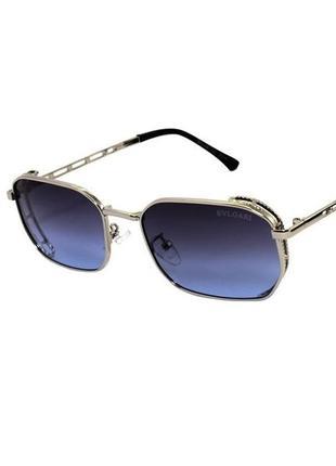 Солнцезащитные очки унисекс с синими линзами и серебристой оправе