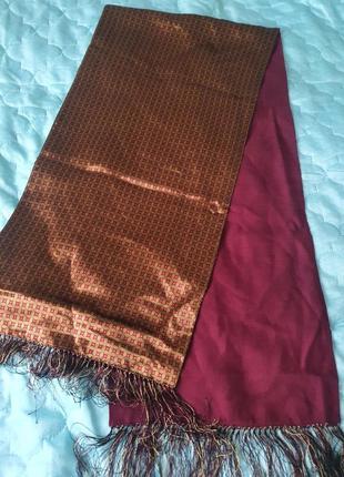 Мужской шарф двухсторонний шерсть и шелк