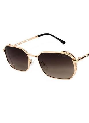 Солнцезащитные очки унисекс с коричневыми линзами и в золотой оправе
