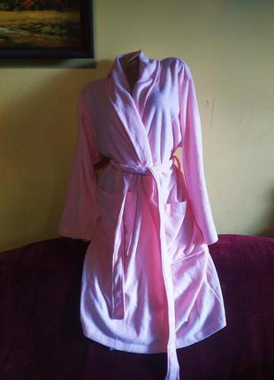 Новий красивий ніжно-розовий жіночий халатик, банний халат, одежда для дома