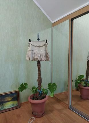 Бежевая мини юбка