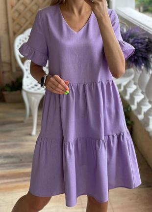 Лиловое платье из льна лаванда разные цвета ассортимент