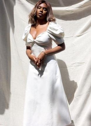 Платье молочное беженое вискоза льняное миди обьемные рукава zara xs s
