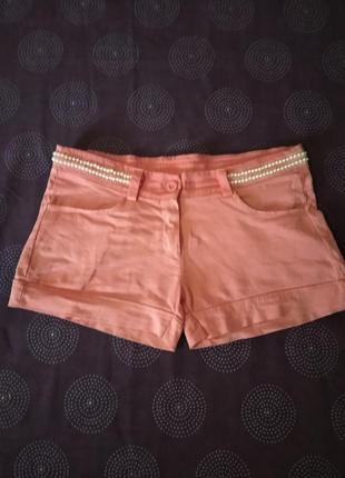 Шорты джинсовые розовые с жемчугом- подарю к покупкам!