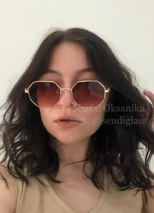 Солнцезащитные солнечные коричневые многоугольные очки от солнца, коричневі сонцезахисні сонячні окуляри метал оправа