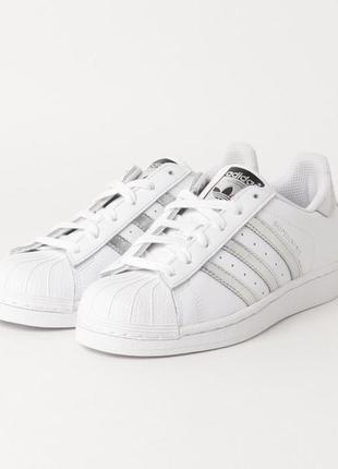 Оригинальные кожаные белые кроссовки adidas superstar w aq3091