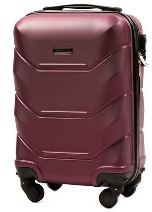 Чемодан пластиковый дорожная сумка на 4 колёсах маленький 147 s wings ( бордовый  burgundy )