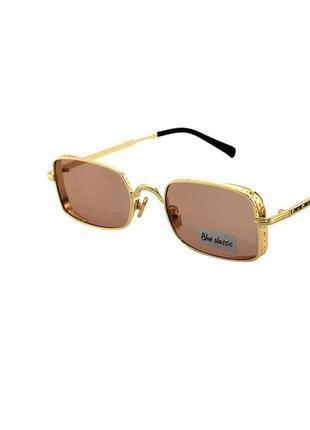 Очки солнечные прямоугольные оправа золотистая коричневые линзы