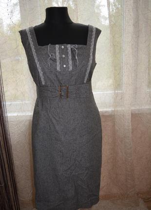 Теплое сарафан платье, шерсть, кружево, в офис, твид, дресс код