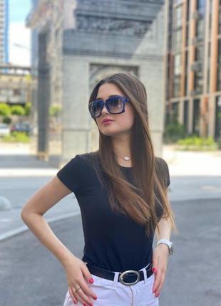 Солнечные очки lantemeng нестандартные в синей оправе женские