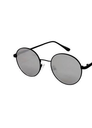 Очки солнечные круглые rich person в черной оправе с зеркальными линзами