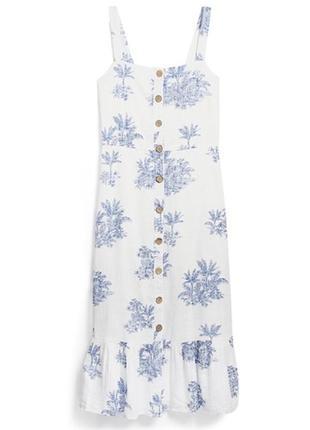 Натуральное платье сарафан на пуговицы лён хлопок