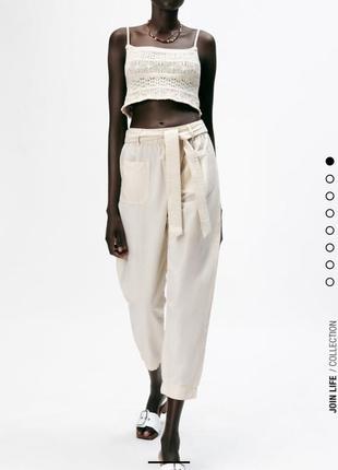 Льняные брюки лён легкие свободные высокая талия с поясом zara оригинал