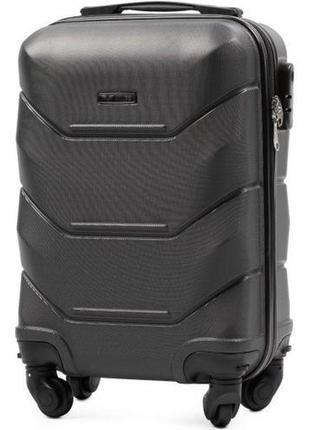 Чемодан пластиковый дорожная сумка на 4 колёсах маленький 147 s wings ( серый  grey )