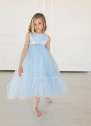 Нарядное платье для девочки голубого цвета мия