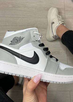 Nike air jordan 1 silver белые / серые купить найк аир джордан женские