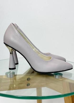 Эксклюзивные туфли из натуральной итальянской кожи и замша лиловые