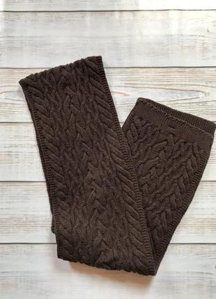 Шарф шарфик унисекс коричневый вязаный