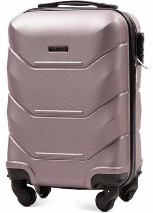 Чемодан пластиковый дорожная сумка на 4 колёсах маленький 147 s wings ( розовое золото  rose gold )