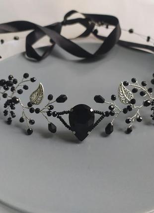 Черная эльфийская тиара черное эльфийское украшение черный венок тика налобное украшение