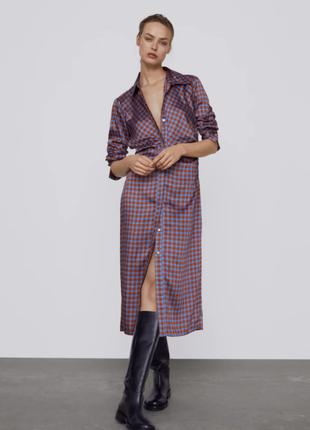 Шикарное сатиновое платье zara