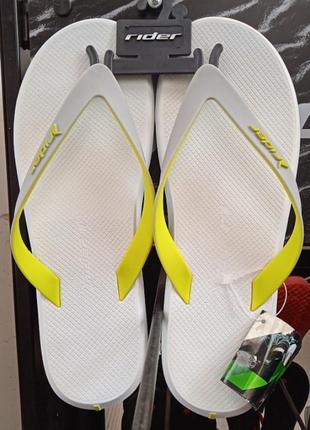 Вьетнамки rider r1 (100% - оригинал) made in brazil.  цвет  : белый/жёлтый. ipanema