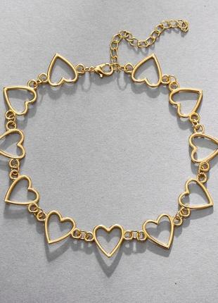 Многослойная цепочка цепь на шею с кольцом колье сердечко подвеска монетка чокер ланцюжок кулон